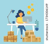 a woman packing order for... | Shutterstock .eps vector #1734306149