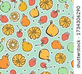 colorful hand drawn fruits in... | Shutterstock .eps vector #1734306290