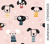 funny seamless pattern with... | Shutterstock .eps vector #1734334223