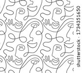 one line drawing abstract face... | Shutterstock .eps vector #1734351650