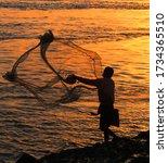 Cast Net Fishing In River...