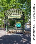 Small photo of Paris, France - May 15 2020: Entrance to the Abbesses Metro station at Montmartre - Hector Guimard Edicule.