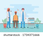 female and male doctor... | Shutterstock .eps vector #1734371666