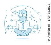 man is meditating sitting on... | Shutterstock .eps vector #1734382829