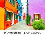 colorful architecture in burano ... | Shutterstock . vector #1734386990