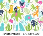 tropical seamless pattern with...   Shutterstock .eps vector #1734396629