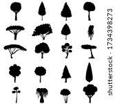 black silhouette of a tree  set   Shutterstock .eps vector #1734398273