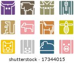 square animal icon series  ... | Shutterstock .eps vector #17344015