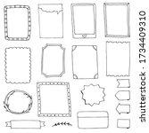 set of doodle frames for diary... | Shutterstock .eps vector #1734409310
