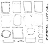 set of doodle frames for diary... | Shutterstock . vector #1734409313