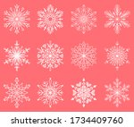 snowflakes icon collection.... | Shutterstock .eps vector #1734409760