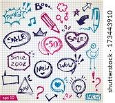 vector speech bubbles  doodles... | Shutterstock .eps vector #173443910