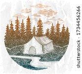 camping emblem  adventure sign... | Shutterstock . vector #1734456266