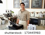 male owner of coffee shop   Shutterstock . vector #173445983