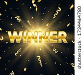 winner golden text with... | Shutterstock .eps vector #1734464780