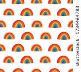 hand drawn rainbow seamless... | Shutterstock .eps vector #1734464783