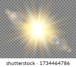 sunshine with rays on... | Shutterstock .eps vector #1734464786