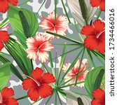 red and white hibiscus flowers... | Shutterstock .eps vector #1734466016