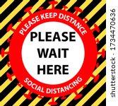 social distancing queue sign.... | Shutterstock .eps vector #1734470636