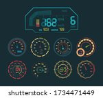 Speedometer Neon Set. Car Speed ...