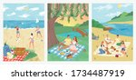 summer sea vacation on tropical ... | Shutterstock .eps vector #1734487919