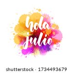 hola julio  hello july in... | Shutterstock .eps vector #1734493679
