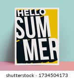 hello summer vintage 3d... | Shutterstock .eps vector #1734504173