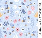 childish seamless vector... | Shutterstock .eps vector #1734505160
