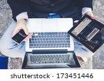 close up multitasking man using ... | Shutterstock . vector #173451446
