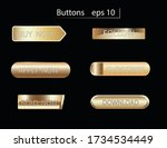 set of glass gold buttons and... | Shutterstock .eps vector #1734534449