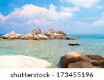 beautiful sea blue seascape  | Shutterstock . vector #173455196