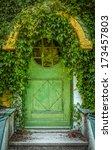 Green Door Of Fairytale Cottag...