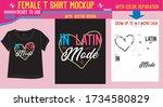 female t shirt mockup design... | Shutterstock .eps vector #1734580829