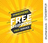free shipping flat banner on... | Shutterstock .eps vector #1734589919
