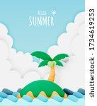island and the beach paper cut...   Shutterstock .eps vector #1734619253