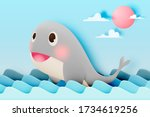 cute whale with ocean and paper ...   Shutterstock .eps vector #1734619256