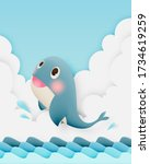 cute whale with ocean and paper ...   Shutterstock .eps vector #1734619259
