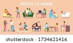 coronavirus quarantine  stay at ... | Shutterstock .eps vector #1734621416