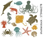 sea animals and fish icons  ...