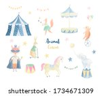 Cute Animal Circus Hand Painte...