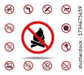 forbidden fire  wood icon. set...