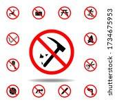 forbidden destroy  hammer icon. ...