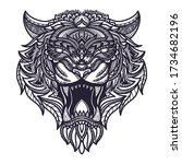 hand drawn doodle zentangle... | Shutterstock .eps vector #1734682196