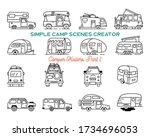 vintage hand drawn camper... | Shutterstock .eps vector #1734696053