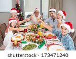 happy family in santas hats... | Shutterstock . vector #173471240