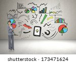 smiling businesswoman with... | Shutterstock . vector #173471624