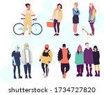 fashion style friends girls boys | Shutterstock .eps vector #1734727820