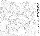 landscape. bear near the river....   Shutterstock .eps vector #1734728906