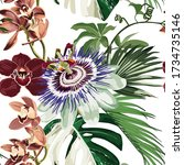passionflower tropical flowers... | Shutterstock .eps vector #1734735146