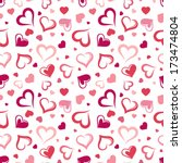 seamless pattern with hearts.... | Shutterstock .eps vector #173474804